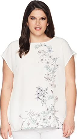 Plus Size Extend Shoulder Botanical Floral Print Blouse