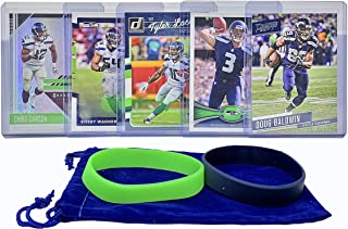 Seattle Seahawks Cards: Russell Wilson, Chris Carson, Doug Baldwin, Tyler Lockett, Bobby Wagner ASSORTED Football Trading Card and Wristbands Bundle
