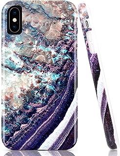BAISRKE iPhone X Xs Case, Deep Purple Marble Design Bumper Glossy TPU Soft Rubber Silicone Cover Phone Case for iPhone X/iPhone Xs [5.8 inch]