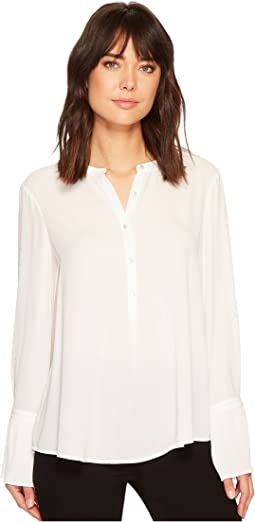 Long Sleeve Mandarin Collar Blouse w/ Pleated Cuff