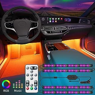 چراغ های داخلی Govee اتومبیل با جعبه کنترل از راه دور و کنترل ، به روزرسانی 2 در 1 طراحی داخلی چراغ های LED اتومبیل با 32 رنگ ، 48 چراغ LED LED کیت همگام سازی با موسیقی با سیم های با طول فوق العاده برای انواع مختلف اتومبیل ، DC 12V