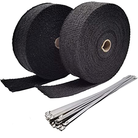 Exhaust Wrap Black 1 x 16 Roll for Motorcycle Fiberglass Heat Shield Tape with 4PC Stainless Ties black