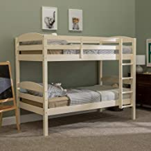 Walker Edison Wood Twin Bunk Kids Bed Bedroom with Guard Rail and Ladder Easy Assembly, White