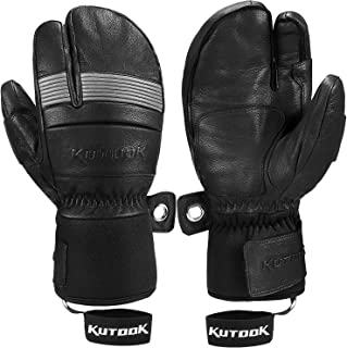 KUTOOK Ski Mittens with HIPORA Waterproof Membrane Goatskin Leather Gloves for Skiing Outdoor