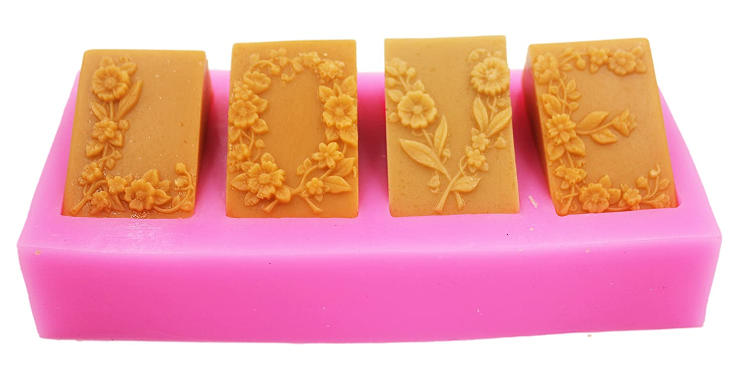 Longzang 4 Cavity Love Flowers Mould S360 Art Silicone Soap Craft DIY Handmade Candle Molds