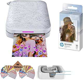 HP Sprocket Photo Printer, Print Social Media Photos on 2x3 Sticky-Backed Paper (Black) + Photo Paper (50 Sheets) + USB Ca...