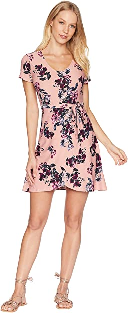 V-Neck Short Sleeve Wrap Dress w/ Tied Waist