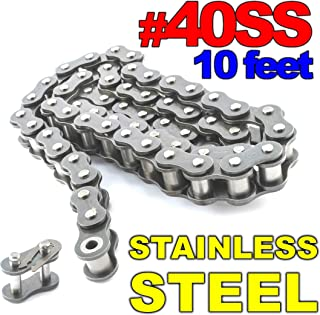 PGN - #40 Stainless Steel Roller Chain x 10feet + Free Connecting Link