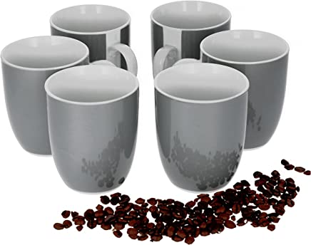 Preisvergleich für Van Well 6er Set Kaffeebecher Serie Vario Porzellan - Farbe wählbar, Farbe:grau