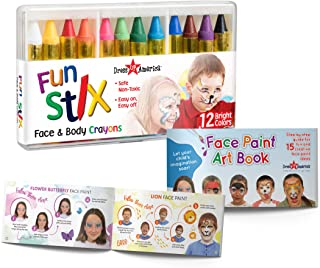 Best Dress-Up-America Face Paint Crayons - With Artbook & Easy To Follow Facepainting Designs -Safe Non-Toxic Face And Body Paint Made in Taiwan - Halloween Makeup Face Painting Kit for Kids & Adults Review