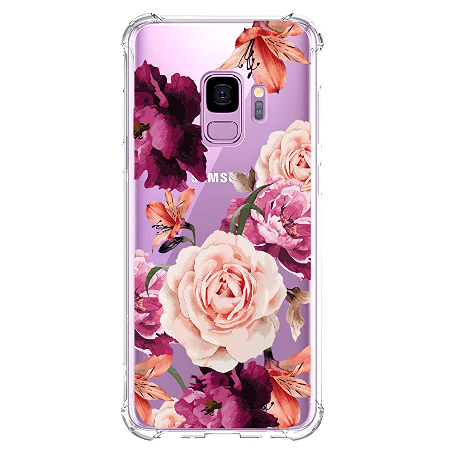 KIOMY Galaxy S9 Case for Girls Clear with Purple Flower Pattern Design Shockproof Protective Cute Floral Back Cover for Samsung Galaxy S9 5.8 Inch Women Flexible Slim Fit Soft Cell Phone Cases