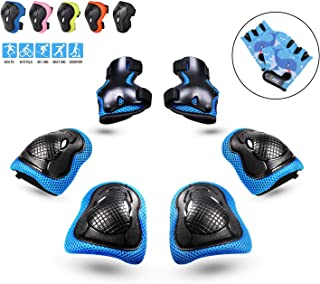 PHZ. Kids Protective Gear, Knee Pads and Elbow Pads 8 in 1 Set with Wrist Guard Gloves and Adjustable Strap for Rollerblading Skateboard Cycling Skating Scooter for 3-8 Years Old