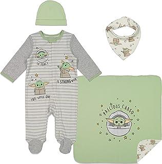 Baby Yoda Layette Gift Set Footies Blanket Bib Hat