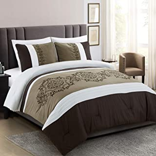 3 Pieces Bedding Ensemble Brown Taupe Victorian Print Luxury Embroidery Comforter Set King Size Bedding-Elizabeth (King)