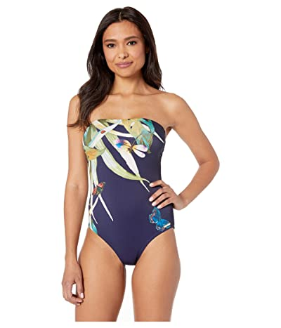 Vince Camuto Lace Back Bandeau One-Piece with Removable Soft Cups (Deep Sea) Women