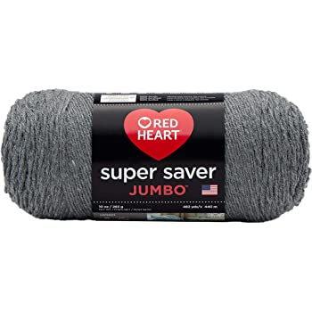 Red Heart Super Saver Jumbo Yarn, Gray Heather