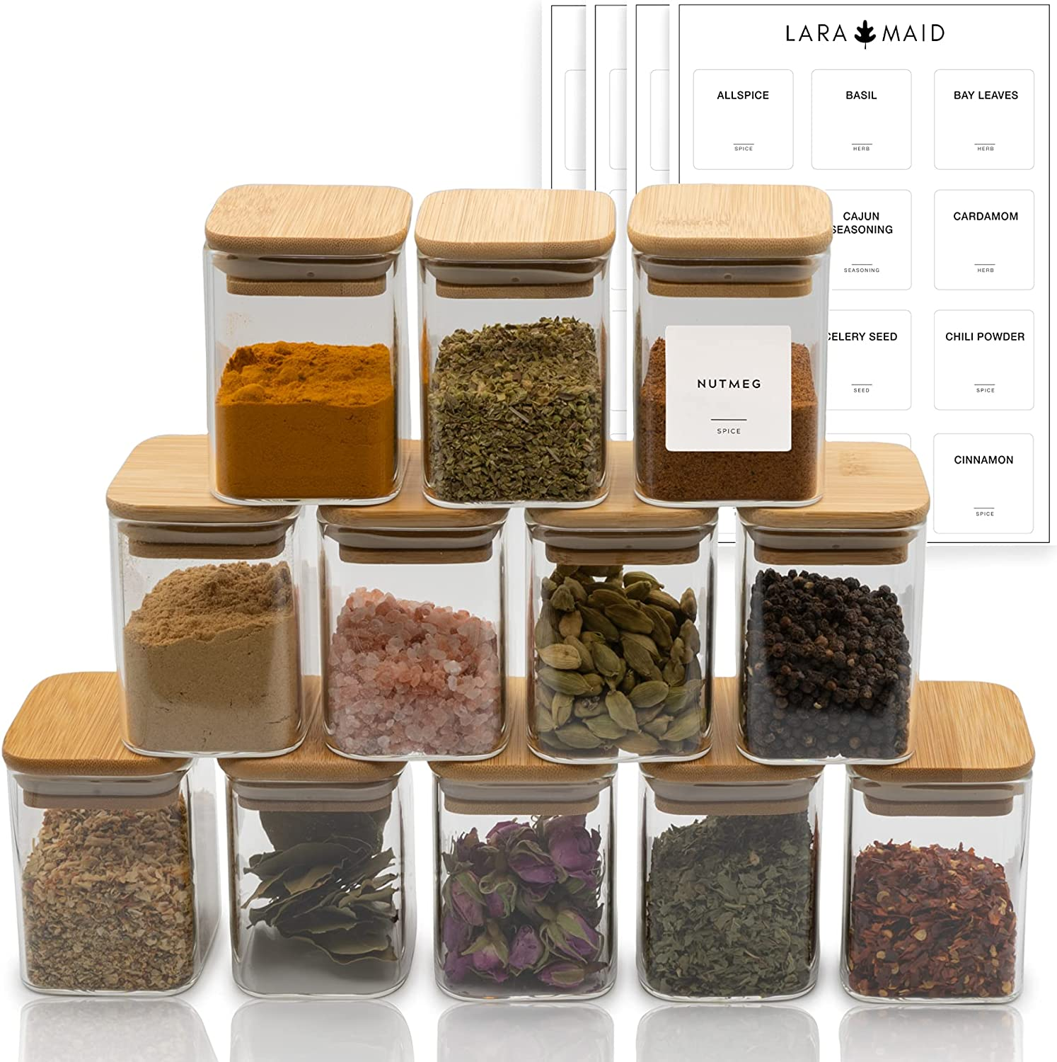 Laramaid Glass OFFer Jars Set Square shop Lids Bamboo Spice with and