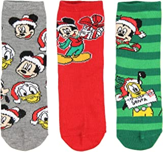 Disney Mickey Mouse and Friends Kids Christmas Fun! 3 Pair Crew Socks Gift Set (6/8)