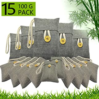 Health+ Bamboo Charcoal Air Purifying Bags 15 Pack(15×100g) Activated Charcoal Air Filter Natural Non-Toxic Eco Friendly, Moisture Absorber for Home, Car,Closet,Shoes
