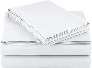 AmazonBasics Light-Weight Microfiber Sheet Set - King, Bright White