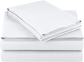 """AmazonBasics Lightweight Super Soft Easy Care Microfiber Sheet Set with 16"""" Deep Pockets - King, Bright White, 4-Pack"""