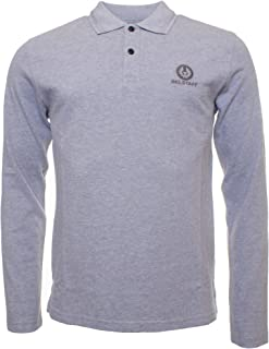Belstaff Men's Pique Cotton Long Sleeve Polo Shirt Gray