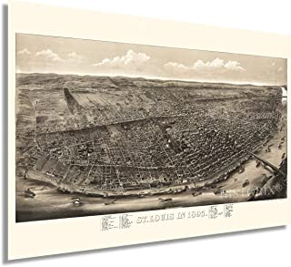 HISTORIX Vintage 1895 Saint Louis Missouri Map - 24x36 Inch Vintage Map of St Louis MO Wall Decor - Old St Louis City Map ...