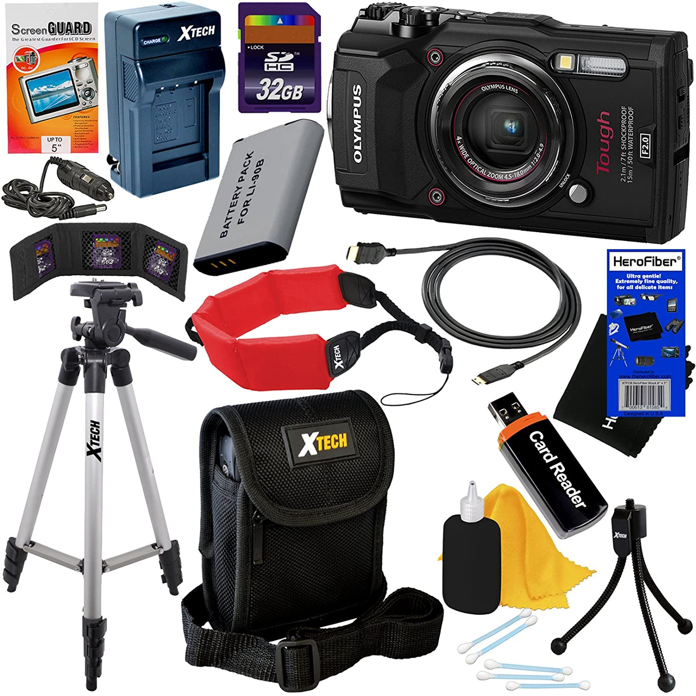 Olympus Tough TG-5 Waterproof, Shockproof, Freezeproof & Crushproof Wi-Fi Digital Camera with GPS & HD 4K Video, Black (International Version) + Battery & Charger + 11pc 32GB Dlx Kit w/HeroFiber Cloth
