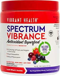 Vibrant Health - Spectrum Vibrance, Antioxidant Support for Immune, Heart, and Eye Health with 4.5 Servings of Fruits and Vegetables, Gluten Free, Vegetarian, Non-GMO, 30 Servings (FFP)