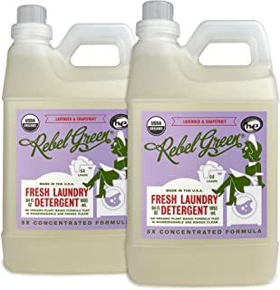 Rebel Green Organic Laundry Detergent, 128 Loads, Hypoallergenic and Natural Liquid Laundry Soap for Sensitive Skin, Lavender and Grapefruit