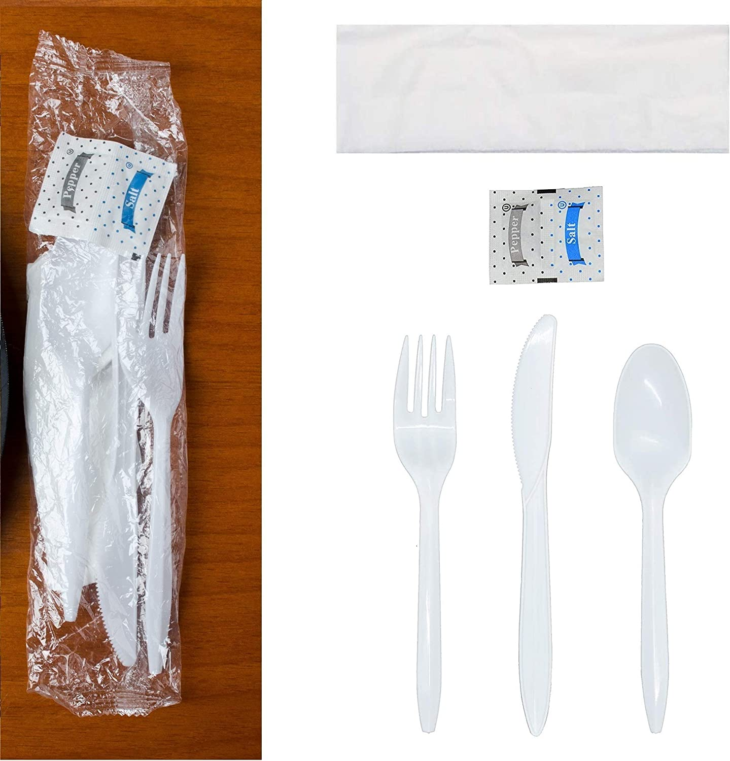 250 Plastic Cutlery sold out Packets - Knife Spoon Quality inspection Peppe Napkin Fork Salt