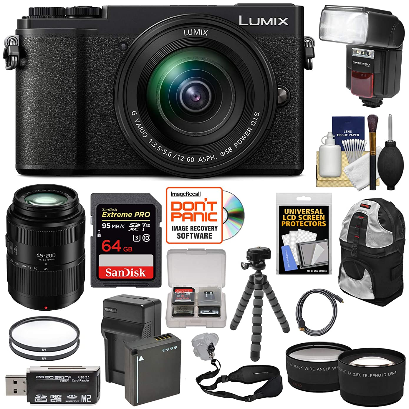 Panasonic Lumix DC-GX9 4K Wi-Fi Digital Camera & 12-60mm (Black) + 45-200mm Lens + 64GB Card + Battery + Backpack + Tripod + Flash + Tele & Wide Lens Kit