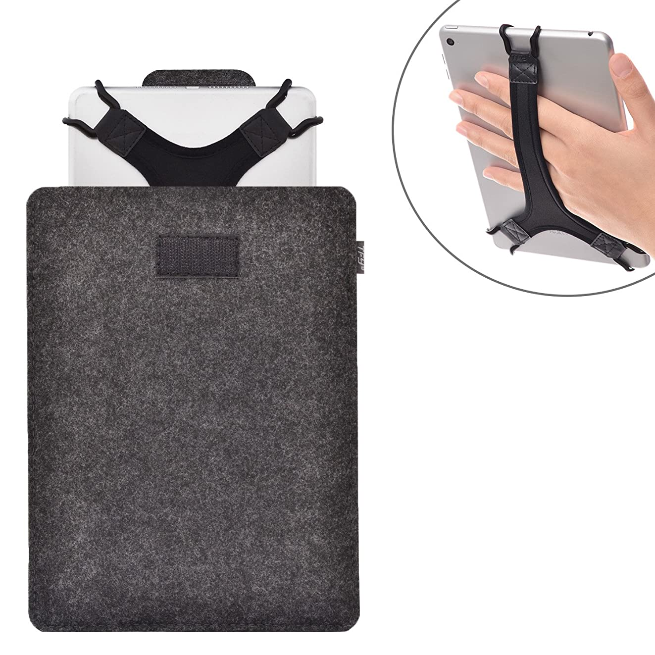 TFY Protective Carrying Pouch Bag (Dark Grey), Plus Bonus Hand Strap Holder for for 9-10 Inch Tablets - iPad Air/iPad Pro 9.7