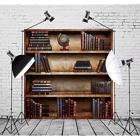 OFILA Polyester Fabric Vintage Bookcase Backdrop 5x5ft Ancient Books Photos Background Old Library Photos Tellurion Expedition History Adventurer Photos Knowledge Events Decor Studio Props