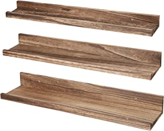 Sponsored Ad - Povrgive Floating Shelves for Wall 23.6inch, Wall Mounted Storage Shelves Set of 3, Solid Wood Wall Display...