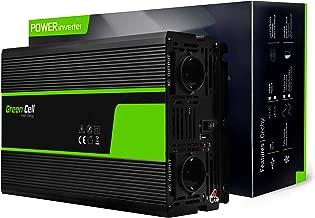 Green Cell® 2000W/4000W Onda sinusoidal Pura Inversor de Corriente Power Inverter DC 12V AC 220V, Transformador de Voltaje para Coche con Puerto USB y Pinzas de conexión a batería