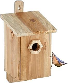 Relaxdays Nichoir pour Oiseaux, à accrocher, Bois Non traité, Trou d'envol de 32 mm, HLP: 32x16x17 cm, Nature