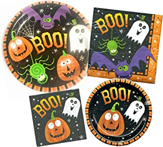 Halloween Pumpkin and Ghost Non-Scary Boo Friends Party Supply Bundle for 16 Guests - Includes Plates and Napkins