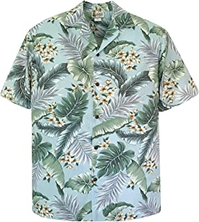 Aloha Republic Plumeria Flowers Taro Leaves Luau Hawaiian Shirt