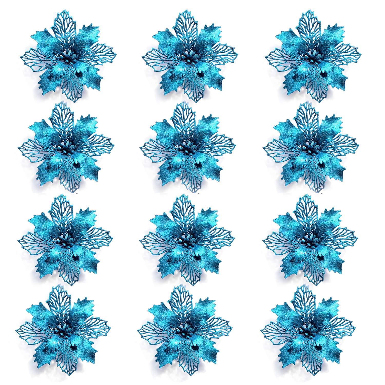 15,2 cm de diam/ètre avec 12 attaches vertes douces GL-Turelifes Lot de 12 Fleurs poinsettia artificielles /à paillettes pour sapin de No/ël