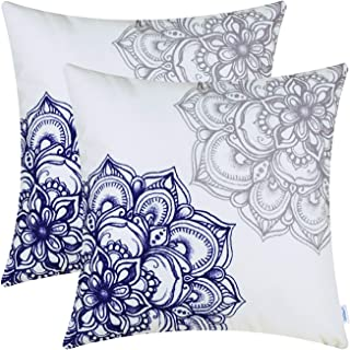 CaliTime Pack of 2 Cozy Fleece Throw Pillow Cases Covers for Couch Bed Sofa Vintage Dahlia Floral Both Sides 18 X 18 Inches Grey Navy Blue