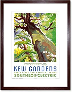 Vintage Travel KEW Gardens Southern Electric Tree Bird Framed Art F12X1813