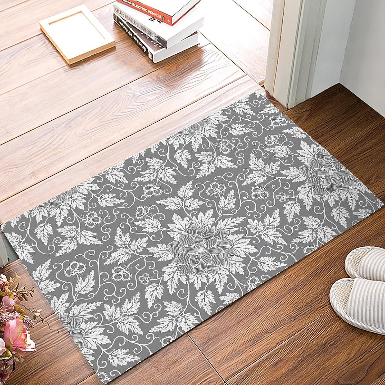 FunkyHome Vintage Florals Design Grey Doormat, Non-Slip Rubber Indoor Mats Entrance Rugs for Bathroom Front, 20x31.5 Inch