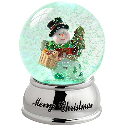 "13"" Christmas Light Snow Water globe SWIRLING Christmas Tree Star Shimmering QQ3"