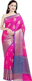 Women's Kataan Silk Blend Indian Ethnic Banarasi Saree with Unstitched Blousepiece(1317)