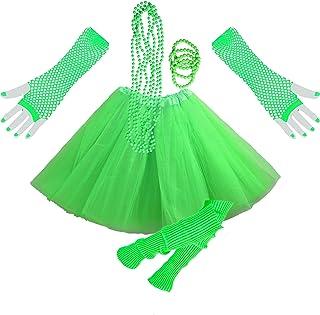 InnoBase 1980s Fancy Dress Zubehör Neon Erwachsener Tutu Beinwärmer Fishnet Pink Handschuhe Mehrfarbig Perlenkette Perlen Halsketten Armbänder 80er Mädchen Frauen Night Out Party Kleid(A7)