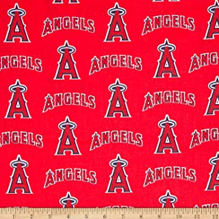MLB Cotton Broadcloth Los Angeles Angels of Anaheim Red/Blue, Quilting Fabric by the Yard