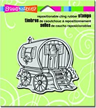 "Stampendous CRQ225 Tiny House Wagon Cling Stamp, 3.5"" by 4"", Grey"