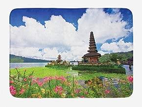 Ambesonne Balinese Bath Mat, Pura Ulun Danu Building Bali Tropic Flowers Water Plants Tower in Sea Scenery, Plush Bathroom Decor Mat with Non Slip Backing, 29.5