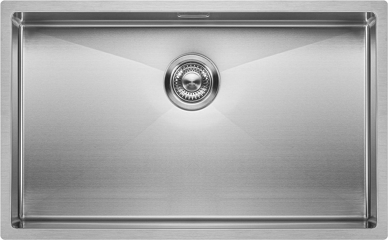 Fregadero de Cocina Mizzo Linea   Acero Inoxidable 304   Montaje Bajo o Sobre Encimera o al Ras   Radio 10mm   1 Seno   Espesor Acero 1.2mm (70x40)
